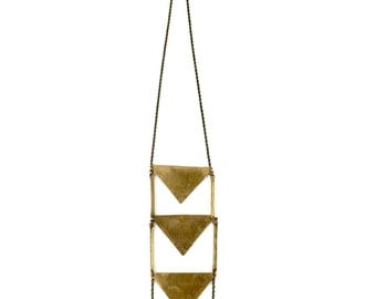 Transcendence Necklace // Long Brass Necklace / Geometric Necklace / Triangle Necklace / Ladder Necklace / Modern Bohemian