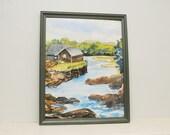 Original Painting Watercolor Cabin Mountain Lake Country Landscape Pennsylvania