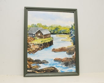 Original Painting Watercolor Cabin Mountain Lake Country Landscape Pennsylvania