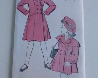 Vintage New York Pattern 1915 Girls Princess Seamed Coat With or Without Caplet Size 6