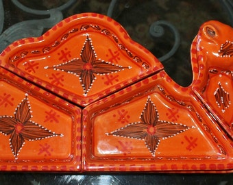 Vintage Ceramic Camel Chips N Dip Tray - Hand Painted -Divided Lazy Susan Style - Appetizer Relish Serving Dish - Orange - Removable Dishes