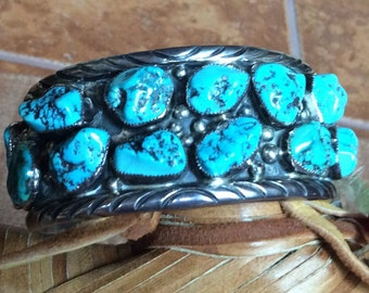 SALE - Huge Southwestern Turquoise Nugget & Sterling Silver Cuff Handmade by K. Spencer