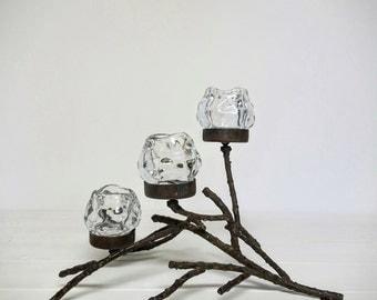 Iron Candle Votive Holder - Branch Holds 3 Snowball Votive Tea Light Candle
