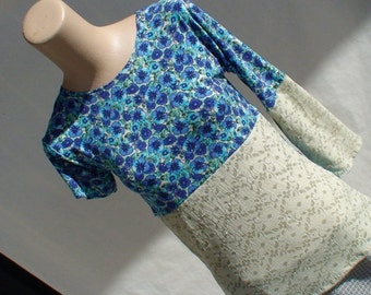 Blue Floral Asymmetrical Summer Top