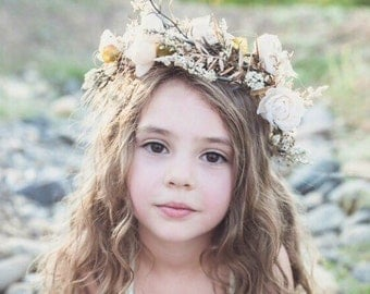 Halo Wreath Crown ivory tan and neitral natural boho crown Hand rolled roses Prairie Band in Dupioni Silks and flower halo