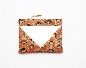 SALE/ SPLASH 27 / Brown and gold graphical cotton make up purse / brush bag / pouch - gold leather pouch - african pouch- Ready to Ship