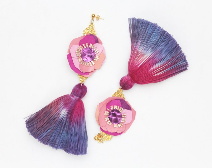 SALE / Tassel and leather earrings-tie dyed hand colored jewelry-statement earrings-oversized earrings-pink purple ombre  / ANEMONE