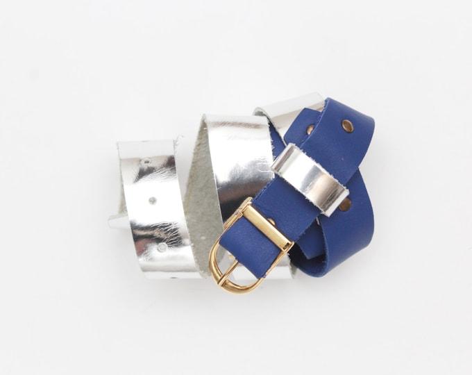Metallic leather belt. Natural leather belt. Handmade belt. Dress belt. Women waist belt. Leather accessories. Silver navy blue.