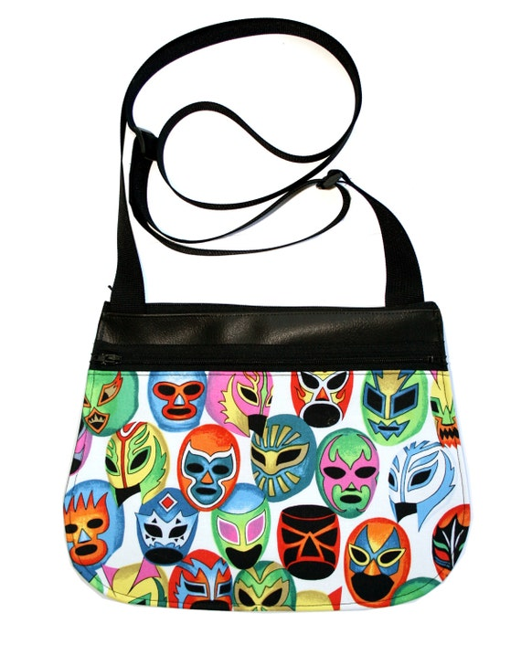 Luchador masks, Lucha Libre, Mexican Wrestler, black vinyl, cross body, vegan leather, zipper top