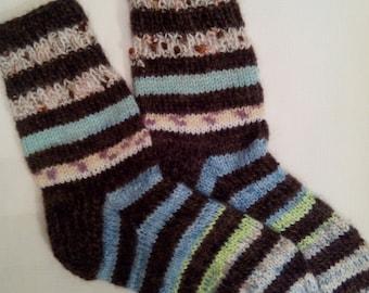 Hand Knitted Wool Socks -Colorful Socks for Women - Size Medium,Large-US W9/EU40