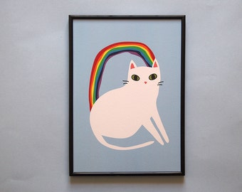 Rainbow Cat A4 Print - Cat print - Cat - I like cats - Cat illustration - Cat art - White Cats - Wall art - Home decor - Rainbow - Cat gifts
