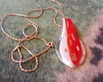 Rare Red And White Murano Glass Pendant On 10 Kt 23 Inch Boston Link Cable Gold Chain
