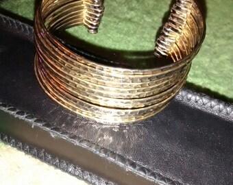 Chain  Hammered 12 Piece Gold Tone Cuff Bracelet