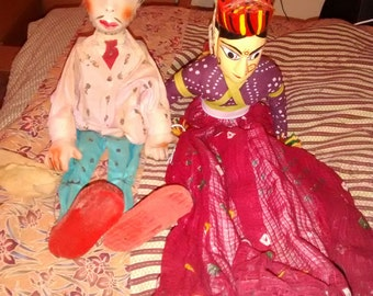 Antique Marionette Show Male Puppet And Female Show Puppet