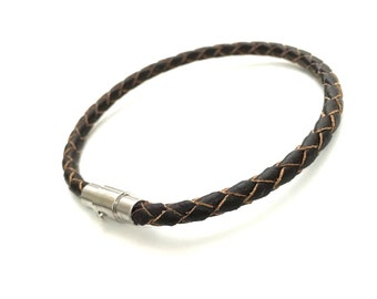 Mens Leather Bracelet, Leather Bracelet for Men, Braided Leather Bracelet, Antiqued Leather Bracelet, Mens Bracelet