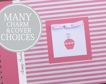 Personalized Birthday Memory Book | Custom Birthday Album Photo Book & Journal | Girl | Pink Stripes
