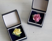 Vintage Floral Brooch - Ceramic Rose Brooches in Original Box - Choice of Pink or Yellow - Shabby Chic