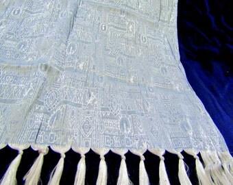"SALE Vintage Thai Silk Scarf Wrap Shawl 22"" x 69"" Light Blue White"