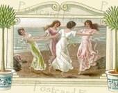 DELIGHTFUL Dancing Ladies by the sea, Art Nouveau Vintage Postcard, Instant Digital Download