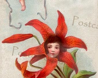 MAGICAL Red Flower Fantasy Vintage Postcard, Instant Digital Download