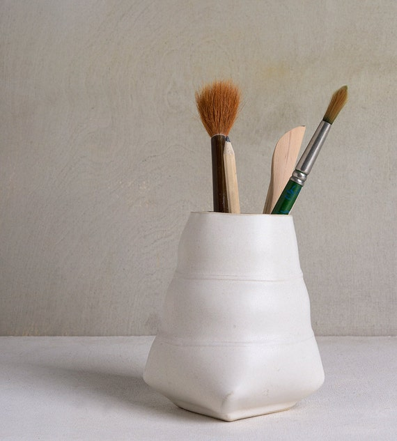 Ceramic Pencil Holder White Office OrganizerBrushes Holder
