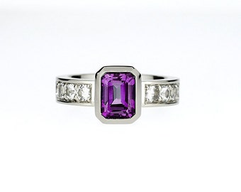 Emerald cut amethyst engagement ring with white sapphires, bezel, purple solitaire ring, wide engagement, unique, custom solitaire ring