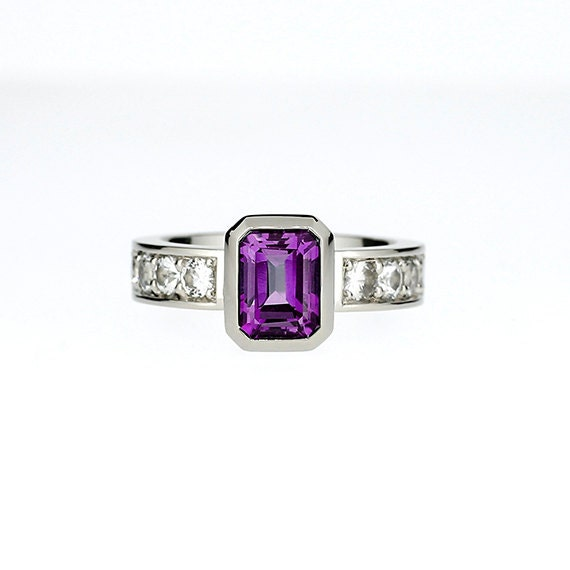 emerald cut amethyst engagement ring with white sapphires