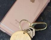 Gold Monogram Keychain with Bag Hook Personalized Keychain Sweet Sixteen Present, Silver Monogram Keychain