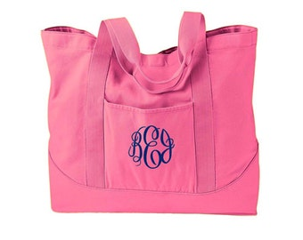 Monogrammed Tote Bag available in 7 colors