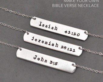 bible verse jewelry, john 3:5 necklace, hand stamped personalized necklace, hand stamped necklace, rectangle, jewelry, bible, Christian,