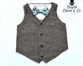Our Jamison Boys Brown Tweed Vest, Toddlers, Ring Bearer, Brown Tweed Vest for Boys, Boys Wedding Vest, Vintage or Rustic Wedding