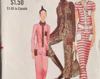 UNCUT Vintage 1970's Miss Vogue 7882 Jumpsuit Pattern Size 12 Bust 34