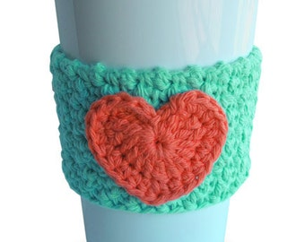 Crochet Heart Coffee Cup Cozy Sea Breeze and Coral