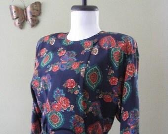Vintage Dress / Liz Claiborne / Floral and Paisley / Medium. 1980s