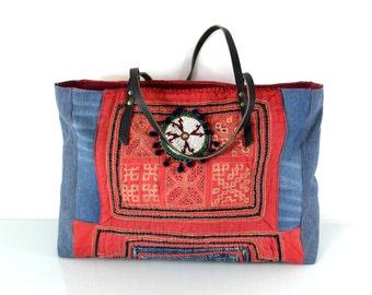 hmong bag, hmong tote, hill tribe bag, ethnic bag, recycled bag, ooak