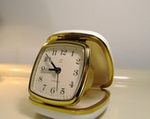 Vintage Travel Pocket Alarm Clock in Gold and White color from the 1970s Germany