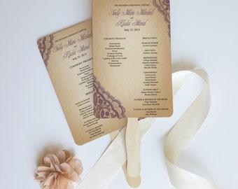 Wedding program fan - Lace Rustic wood ceremony program for events. Bellevue design {colors customizable}
