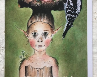 Woodland Fairy Finds - Fairy Note Card, 5 x 7 inches, blank inside.