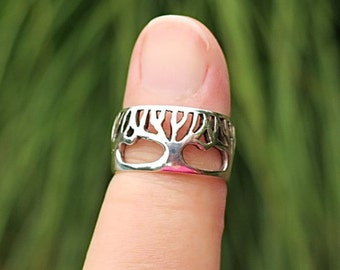 Vintage 925 Sterling Silver Tree of Life Ring