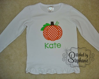 Baby Toddler Girls Embroidered Personalized Monogrammed Fall Halloween Thanksgiving Orange Polka Dot Pumpkin Ruffle Long Sleeve Shirt