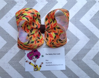 Autumn Herringbone Hair Bow