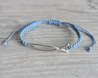 Friendship bracelet with sign of fish Light blue macrame bracelet Christian jewelry Woven bracelet Stackable bracelet