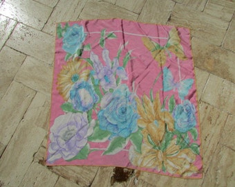Colorful vintage 1960s signed Foral VERA SILK SCARF 29x29 Vera Neumann Pink Butterflies