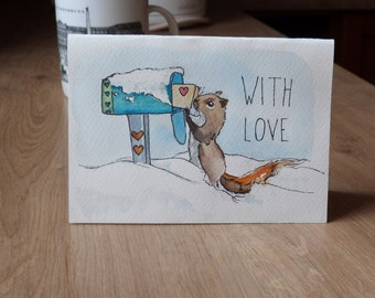 greeting card - with love - squirrel illustration
