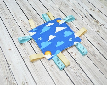 Crinkle Toy - Sensory Toy -Blue Clouds Boy Baby Shower Gift - Ribbon Tags