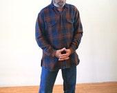 90s RRL Shadow Plaid Western Shirt, Double RL Shirt Jac, Ralph Lauren Western Shirt, Ralph Lauren Work Wear, RRL Heavy Work Shirt, L