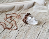 crystal jewelry - raw quartz point crystal necklace - healing crystal - raw quartz necklace