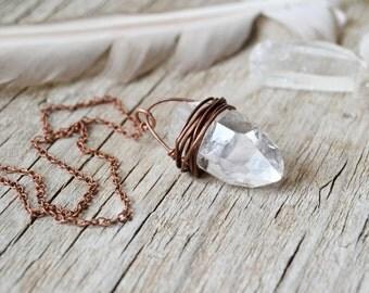 crystal jewelry - raw quartz point crystal necklace - healing crystal - raw quartz necklace