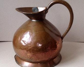 Antique Georgian copper ale jug, 2 gallon beer pitcher, Lead excise seal, Haystack jug