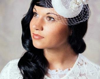White Bridal Pillbox Hat with Silk Flowers and Birdcage Veil - Cream Bridal Fascinator - White Wedding Hat